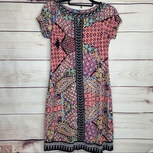 BEIGE by ECI Floral Paisley Beaded & Sequin Dress
